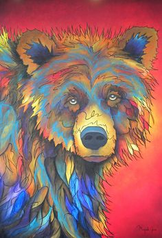 """Grizzly Steals the Sun"" - Original acrylic - whimsical and colorful contemporary painting of a grizzly bear, on deep gallery wrapped canvas. Reminds me of of my Andrew. Sun Painting, Artist Painting, Painting & Drawing, Art And Illustration, Street Art, Bear Paintings, Bear Art, Contemporary Paintings, Oeuvre D'art"
