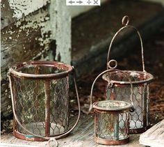 Chicken Wire Candle Basket Lanterns S/3