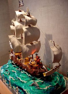 Edible Art, Large Ship at Sea Cake. There's even a dolphin swimming along with the ship!| Beautiful and Creative Wedding Cakes (35 pics) - Picture #18