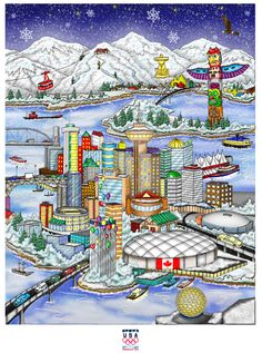 Vancouver olympics games 2010 poster by Charles Fazzino. #olympicart #Vancouver2010 #vancouverolympics #2010olympics #Olympics2010 #WinterOlympics #OlympicGames