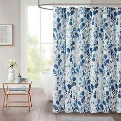 Madison Park Lyla Seersucker Botanical Print Shower Curtain Curtains Kohls, Blush Curtains, Curtains For Sale, Madison Park Shower Curtain, Madison Homes, Off Colour, Color Blue, Bathroom Sets, Botanical Prints