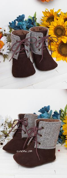Mitchelle Baby Boots PDF Pattern - ithinksew.com