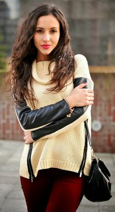Attractive leather detail comfy knit zip pullover