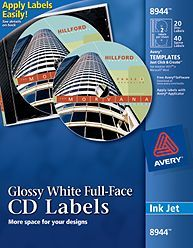 Avery Inkjet FullFace Cd Labels Matte White Pack  Products