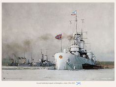 """panzerbjoern: """" Colorized photo of the 2nd Imperial Russian Battleship Brigade, Helsinki Harbor, 1915 The four ships making up the Brigade were of the modernized """"Gangut""""…"""