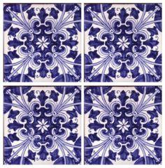 Galleries - A1-Portuguese tiles - 35-Sintra tile Azul 4 tile Hmade.