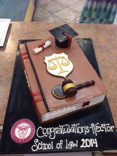 Law school graduation cake School Parties, Grad Parties, Lawyer Cake, Gateau Baby Shower, Candy Bouquet Diy, School Cake, Graduation Theme, Retirement Cakes, Book Cakes