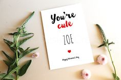 """ Personalised Valentine's Day Card cm, Simplistic, Sassy, Funny Cheeky, Sexy and still Romantic Custom Made Folded Card. Share the LOVE ♥️ Youre Cute, Describe Yourself, Custom Cards, Share The Love, Personalized Baby, Valentines Day, Greeting Cards, Place Card Holders, Romantic"