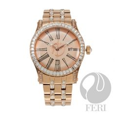 FERI Hollywood – Las Palmas Avenue – Watch Rose gold plated steel metal construction Cubic zirconia inlaid band and face Displays date Unique roman numeral face design curved mineral crystalonline luxury shopping mall Face Design, Design Case, Rose Gold Watches, Steel Metal, Stainless Steel Case, Rose Gold Plates, Bracelet Watch, Jewels, Crystals