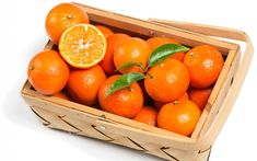 Download wallpapers mandarins, citrus fruits, orange fruit, basket