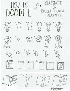 Doodle lightbulb, ribbon, thumb tack notepad, book