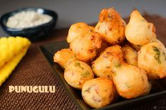 Punugulu is an easy tea time snack made with leftover idli batter.Seasonings are added to the idli batter and fried until nicely golden and crispy.