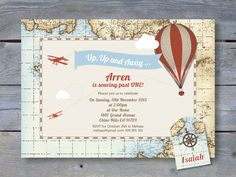 VINTAGE Hot Air Balloon Invitation for Birthday Party - 7x5 Printable file. Print your own. Includes printable Swing Tag