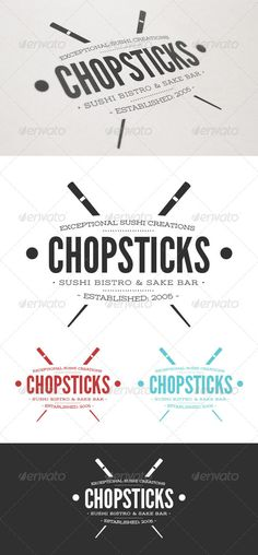 Chopsticks Sushi Logo #GraphicRiver Chopsticks Sushi Logo comes in both an original and inverse version. Four additional colors have also been included. Easily change colors and text to personalize your logo. Font links included in instructions. 100% VECTOR   .EPS 10 & CS + .AI CS VERSIONS   CMYK Created: 13July13 GraphicsFilesIncluded: VectorEPS Layered: No MinimumAdobeCSVersion: CS Resolution: Resizable Tags: Eatery #asian #bar #bistro #branding #chop #chopsticks #clean #fish #food #japan…