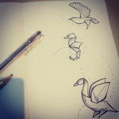 "Red Sora Tattoo on Twitter: ""aboceteando!!! #tattoo #tatuajes #minimalist #origami #puntillismotattoo #aguila #seahorse #caballitodemar #ave http://t.co/cOw0szDHk4"""