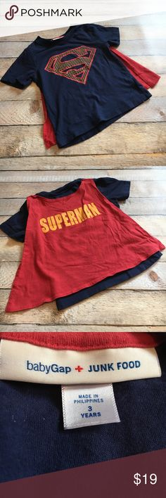 Baby GAP Superman Shirt with Cape ✔️Baby GAP Superman Shirt with Cape ✔️Adorable Junk Food Superman Shirt from the GAP with detachable cape ✔️Like new condition GAP Shirts & Tops Tees - Short Sleeve