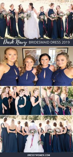 country navy blue long bridesmaid dresses, cheap chiffon wedding party dresses #dressywomen #bridesmaid #weddingideas #bridesmaids