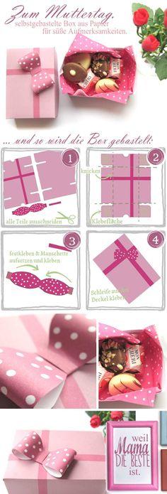 Bastelbogen zum Ausdrucken für eine kleine Geschenkbox aus Papier