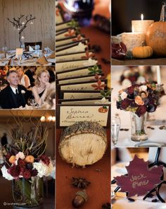 Autumn wedding  www.lacehanky.com (I like the birch candle-and-gourd centerpieces)