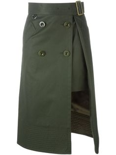 Sacai for Women - Designer Clothing Skirt Pants, Dress Skirt, Midi Skirt, Slit Skirt, Casual Mode, Moda Chic, Layered Skirt, Straight Skirt, Military Fashion