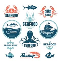 Seafood labels vector by maglyvi on VectorStock®