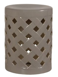 Crisscross Glazed Garden Stool Gray