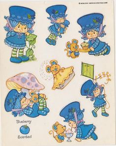 Vintage Kenner Strawberry Shortcake Blueberry Muffin  Sticker Sheet
