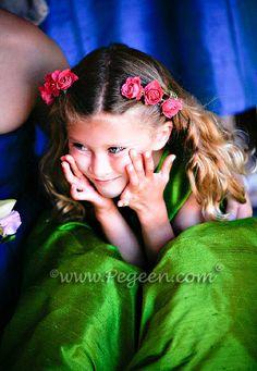 Grass green silk flower girl dress