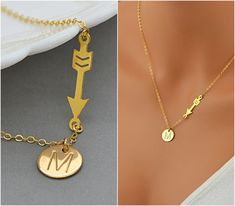 Gold Arrow Necklace, Personalized Arrow Necklace, Disc Necklace, Initial Necklace Gold, Sterling Silver, Rose Gold by malizbijoux. Explore more products on http://malizbijoux.etsy.com
