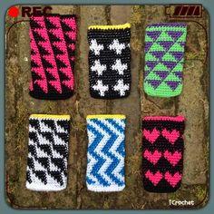 iCrochetstuff: Tapestry iPhone hoesje met hartjes, plusjes, driehoekjes, ruitjes, zigzag, etc