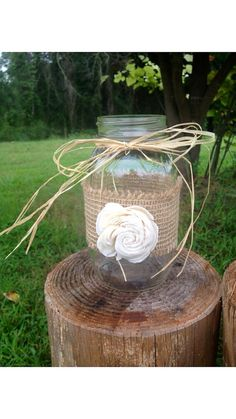 Rustique Chic minable enveloppé Mason Jar - décorations de mariage rustique - Rusic Mason Jar - pièce maîtresse de la mariée
