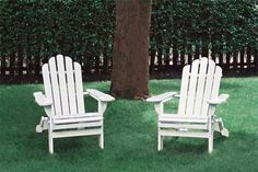 Two white Adirondack chairs by a tree. Two white Adirondack chairs by a tree.furniture Two white Adirondack chairs by a tree. Two white Adirondack chairs by a tree. White Adirondack Chairs, Adirondack Chair Plans, Adirondack Furniture, White Chairs, Outdoor Seating, Outdoor Chairs, Outdoor Decor, Lounge Chairs, Rustic Outdoor