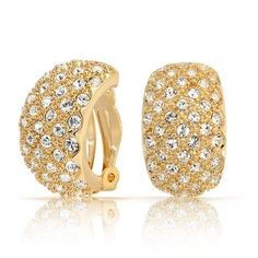 Bling Jewelry Crystal Beaded Gold Plated Half Hoop Clip On Earrings
