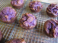 Purple Sweet Potato Muffins with almond butter + meal, honey, golden raisins (dates/figs?)