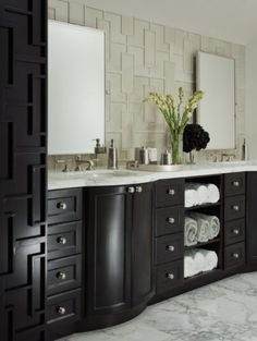 Very pretty dark cabinet with light counter top... Hope our bathroom looks like this when the house is done