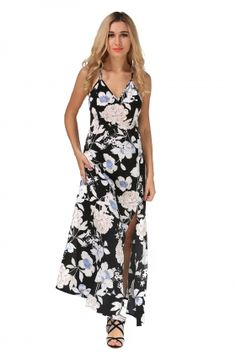 e3697d5727 US 6 White and Black Flower Straps Long Maxi Dress 23729 Cheap Maxi Dresses