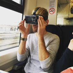 An awesome Virtual Reality pic! Got to experience some virtual reality games on the train ride too.  #gearvr #oculus #samsung #virtualreality #games #goggles #train #reality #world #london #glasses by mightymy9 check us out: http://bit.ly/1KyLetq
