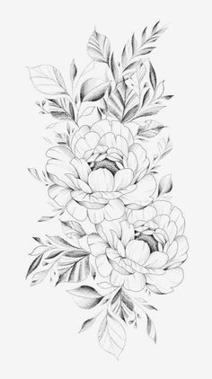 Peony Flower Tattoos, Peonies Tattoo, Body Art Tattoos, New Tattoos, Tattoo Drawings, Floral Tattoo Design, Flower Tattoo Designs, Manga Floral, Muster Tattoos