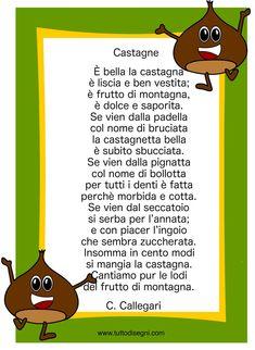 Filastrocca sulle castagne da stampare - TuttoDisegni.com Projects To Try, Printables, Autumn, Creativity, Print Templates, Fall