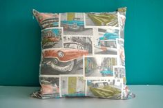 "Modern decorative Cushion cover 18""x18"" Vintage American Cars in retro colors"