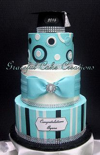 Turquoise, White and Black Graduation Cake | by Graceful Cake Creations