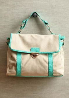 hint of mint canvas purse