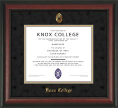 Knox College - Diploma Frame : with Seal - UV Glass - Black Suede on Gold mat.  Click to see other styles!