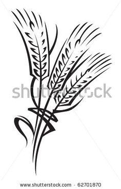 monochrome illustration of ears of wheat by Alexkava, via ShutterStock