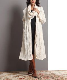 Love this Winter White Cable-Knit Open Duster on #zulily! #zulilyfinds