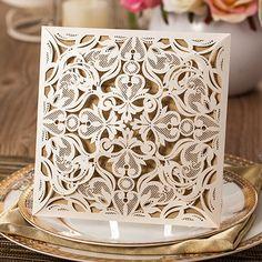 graceful pearl white laser cut wedding invitations EWWS023 as low as $2.09