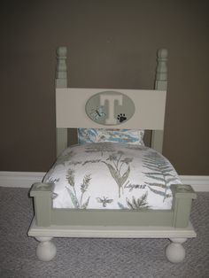 My DIY version of the end table turned pet bed inspired by Lucy Design.