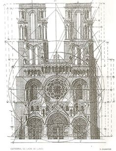 Regulating lines that give the Cathedral of Laon golden section. LUND, Frederik Macody. Ad Quadratum. 1919. Sourcing to prove the Laon's Cathedral has golden ratio in its design. The image comes originally from a book by Frederik Macody Lund, 1919, so is PD in the US.
