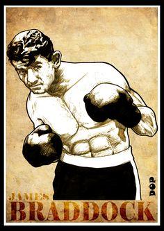 Boxing poster of Cinderella Man, James Braddock Boxing Posters, Female Poets, Boxing History, Joe Louis, Art Rules, Boxing Champions, Flavio, Combat Sport, Sports Stars