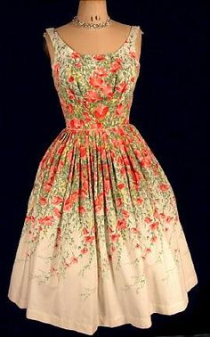 1950s tulip print dress, wish I could make this or find one before Easter!
